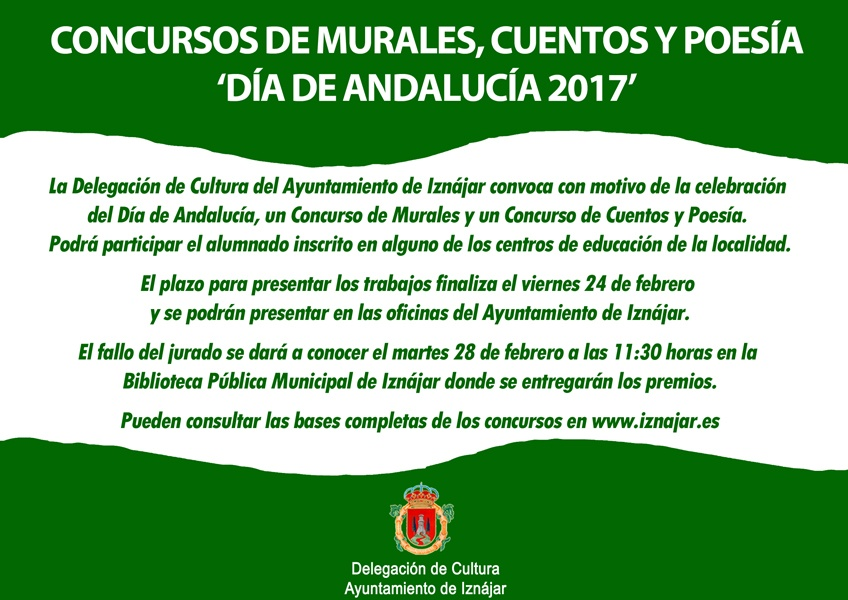 La Delegación de Cultura del Ayuntamiento de Iznájar convoca los Concursos de Murales, Cuentos y Poesía 1