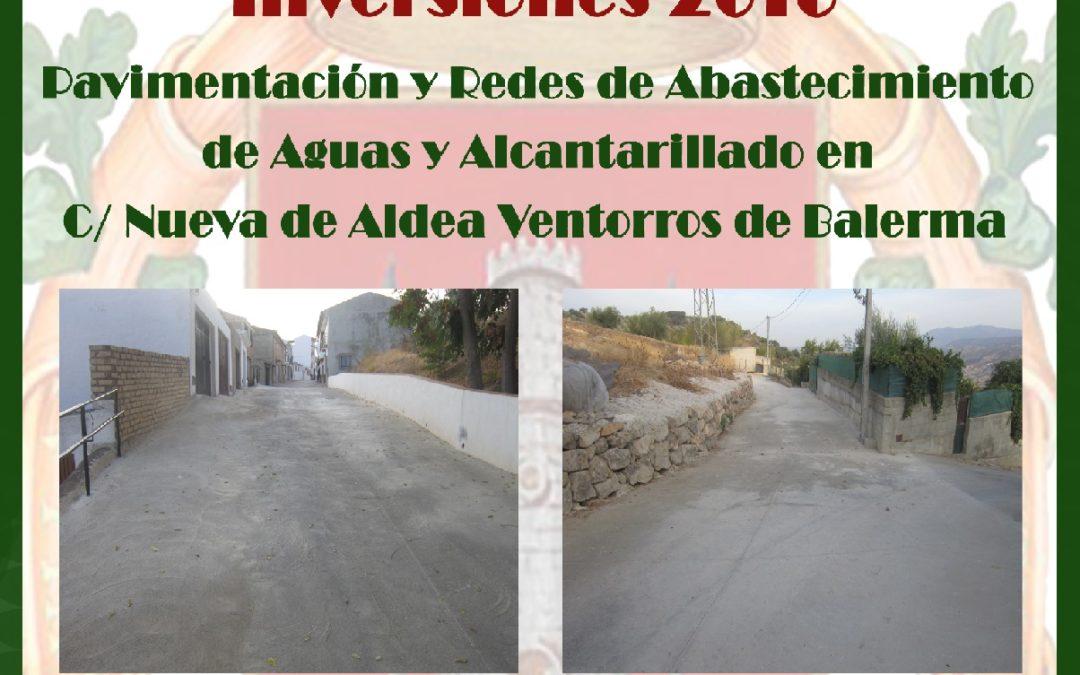 Pavimentación y Redes de Abastecimiento de Aguas y Alcantarillado en C/ Nueva de Aldea Ventorros de Balerma