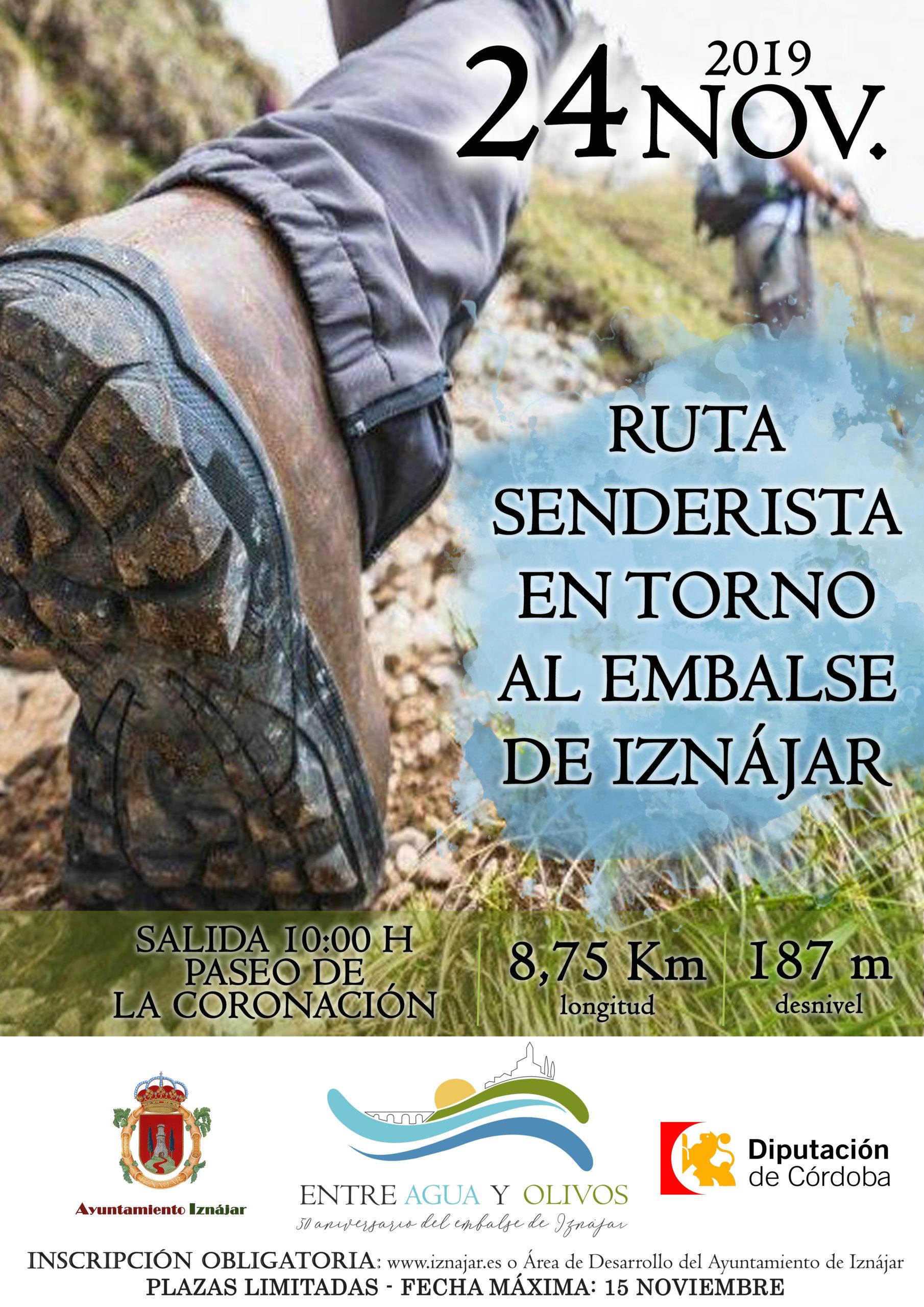"""Cartel """"Ruta senderista en torno al Embalse de Iznájar"""""""