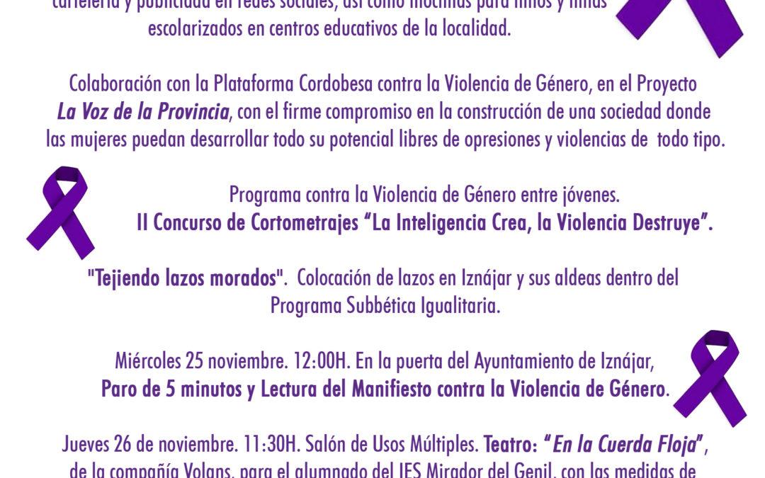 El Ayuntamiento de Iznájar se suma a la conmemoración del Día contra la Violencia de Género