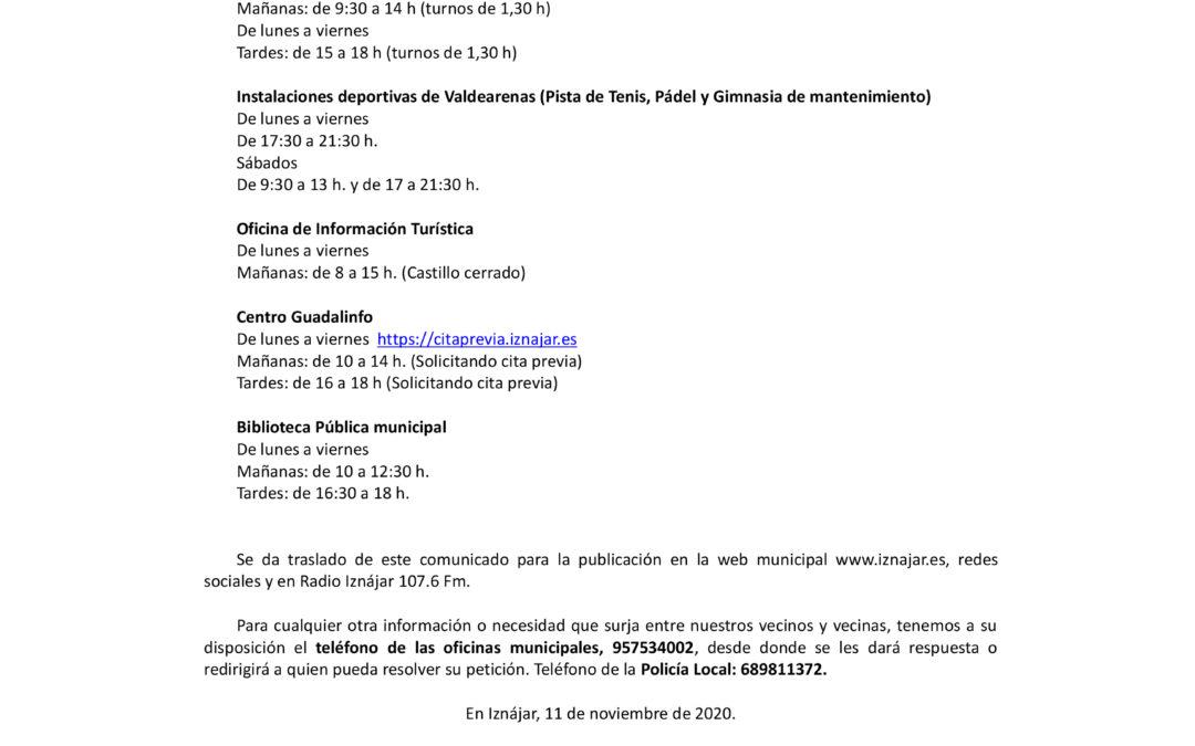 El Ayuntamiento de Iznájar adapta los horarios de atención al público de diversos servicios municipales